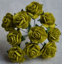 1.5cm LIME GREEN Mulberry Paper Roses